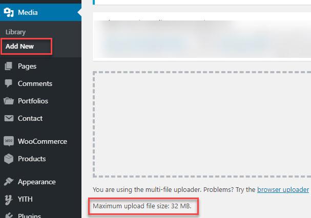 find wordpress file upload limit