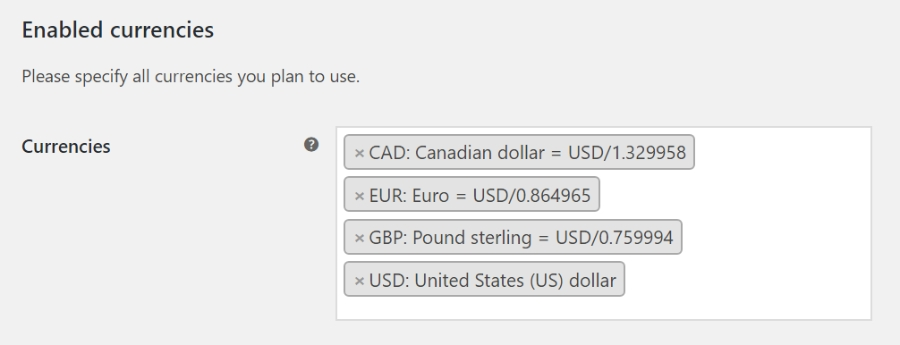 setup currencies